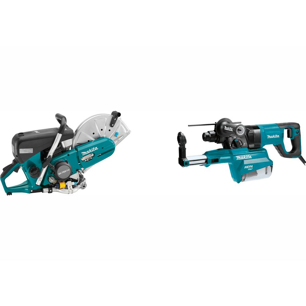 Makita 14 inch 76 cc 4-Stroke Engine Gas Saw w/ Bonus 1 inch AVT Rotary Hammer, SDS-Plus Bits w/ HEPA Dust Extractor