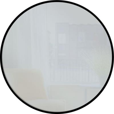 28 in. x 28 in. Black Round Metal Mirror