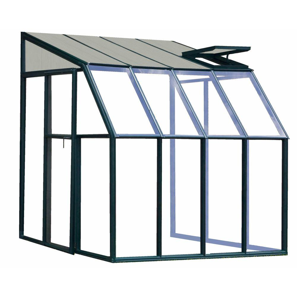 Rion Lean-To 6 ft. 6 in. x 8 ft. 6 in. Green Frame Clear Acrylic Panels Sunroom Greenhouse-DISCONTINUED