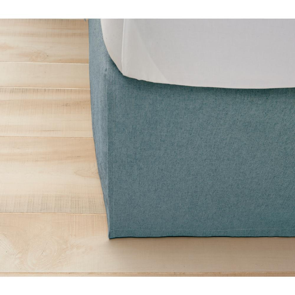 Monroe Aqua Blue King Bed Skirt-172 - The Home Depot f5d2a6bfc