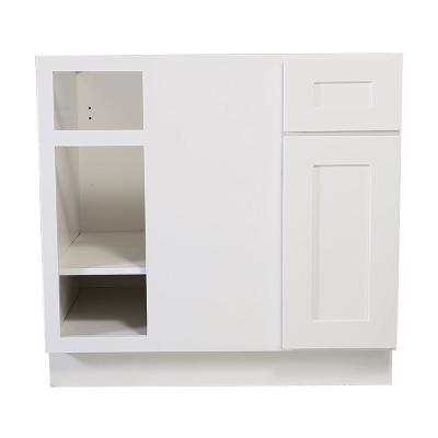 Brookings Plywood Assembled Shaker 36x34.5x24 in. 1-Door 1-Drawer Blind Base Kitchen Cabinet in White