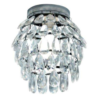 1-Light Chrome Ceiling Fixture with Glass Beads