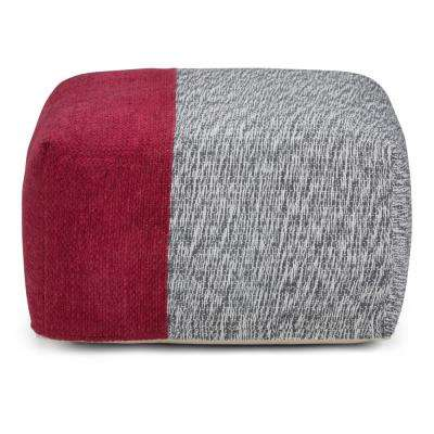 Emmett Red and Grey Square Pouf