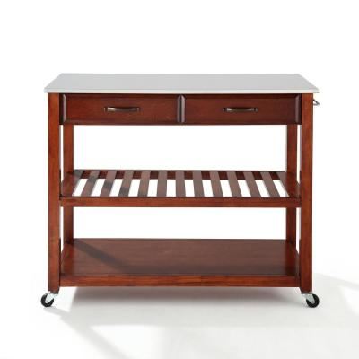 Cherry Full Size Kitchen Prep Cart with Granite Top