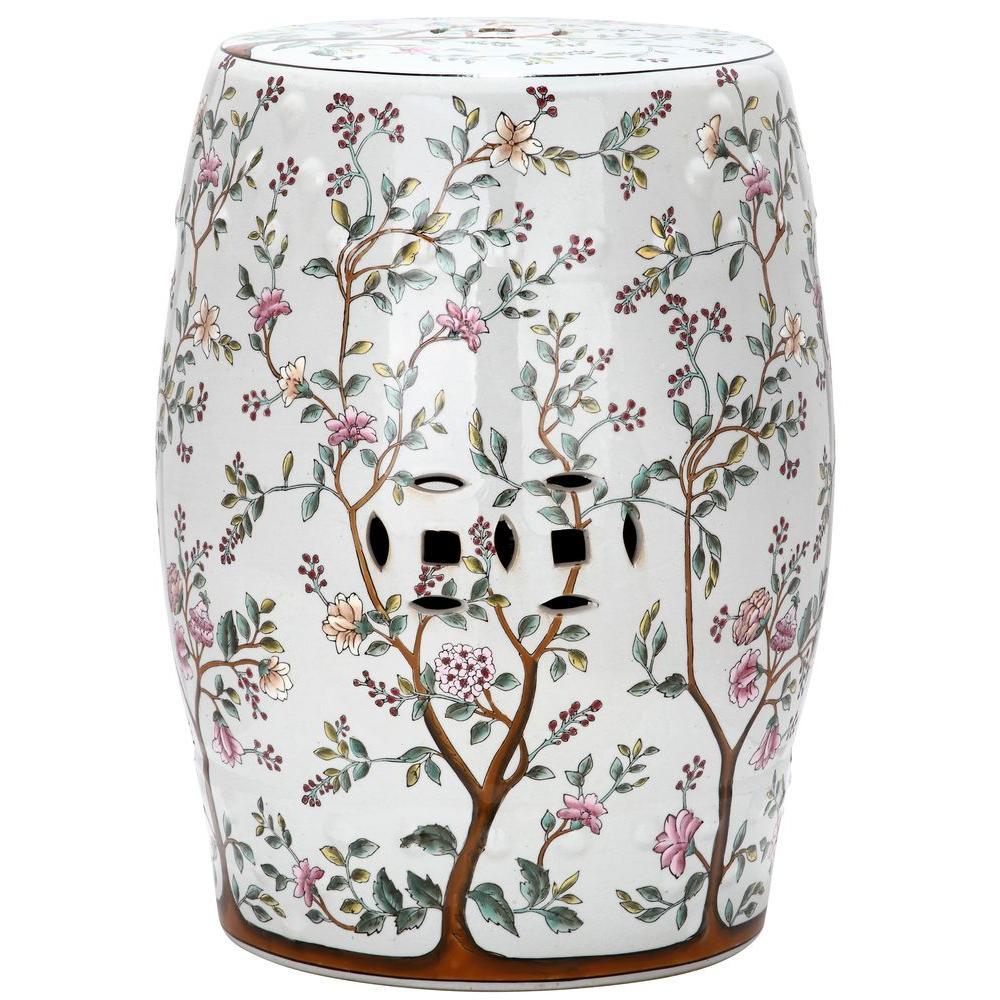 Safavieh Flower Tree Pattern Ceramic Blooming Tree Patio Stool