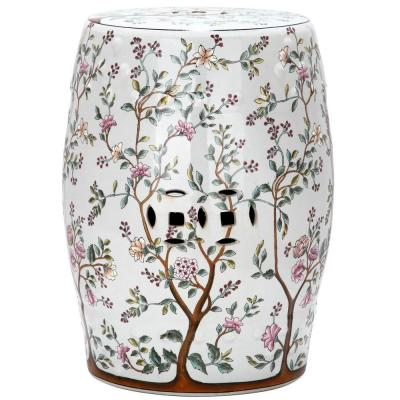 Flower Tree Blooming Ceramic Garden Stool