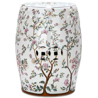 Flower Tree Pattern Ceramic Blooming Tree Patio Stool