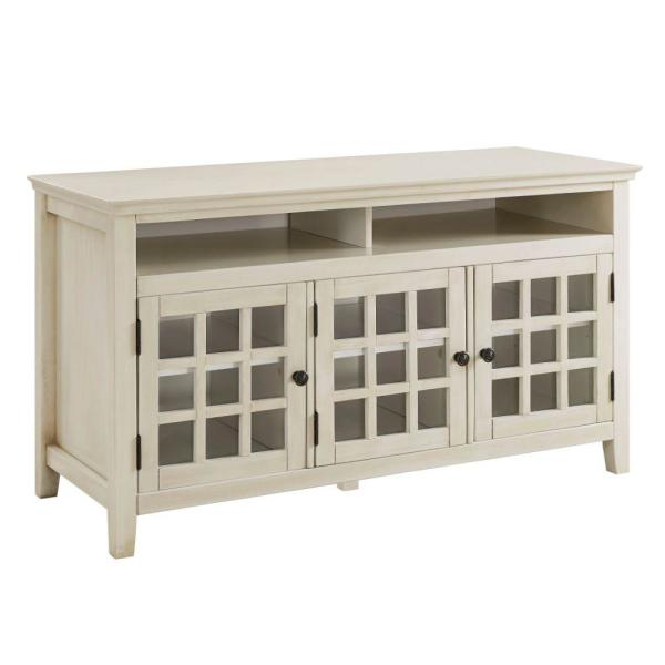 48 in. W White 3-Door Wooden Media Cabinet with Two Open Shelves