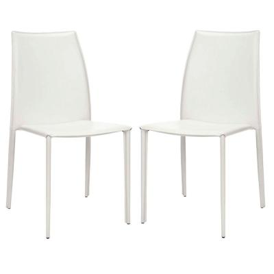 Korbin White Bonded Leather Side Chair (Set of 2)