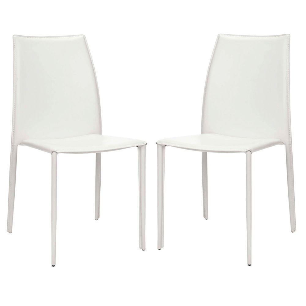 Korbin White Bonded Leather Side Chair (Set of 2)