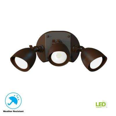 3-Light Integrated LED Outdoor Bronze Dusk to Dawn Security Flood Light