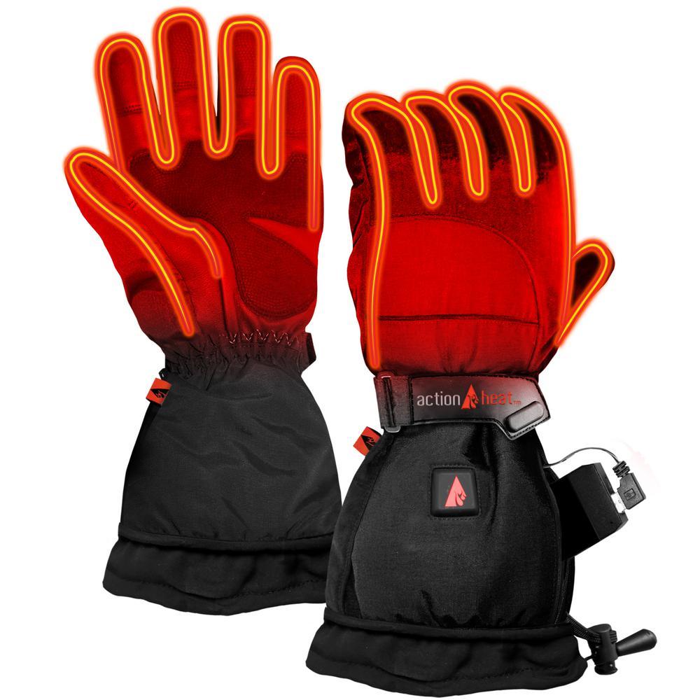 Women's Large Black 5V Battery Heated Snow Gloves