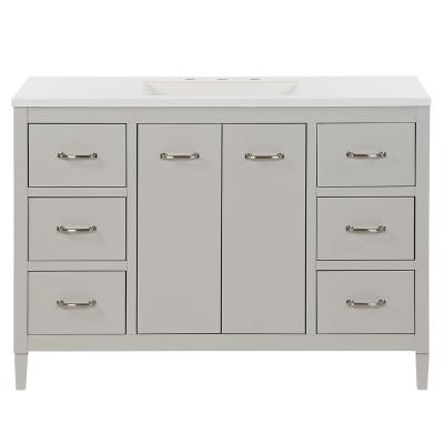 Marrett 48.25 in. W x 18.75 in. D Bath Vanity in Light Gray with Cultured Marble Vanity Top in White with White Sink