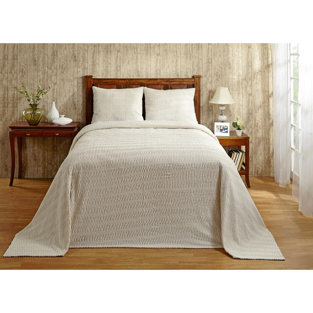 Natick Collection in Wavy Channel Stripes Design Ivory King 100% Cotton Tufted Chenille Bedspread