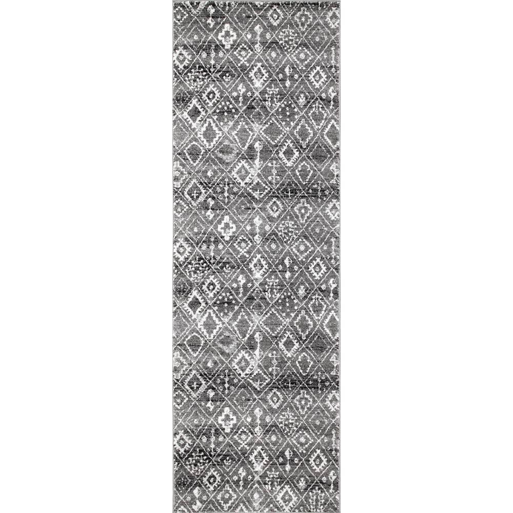 Vintage Moroccan Trellis Varela Dark Grey 2 ft. 8 in. x 8 ft. Runner Rug
