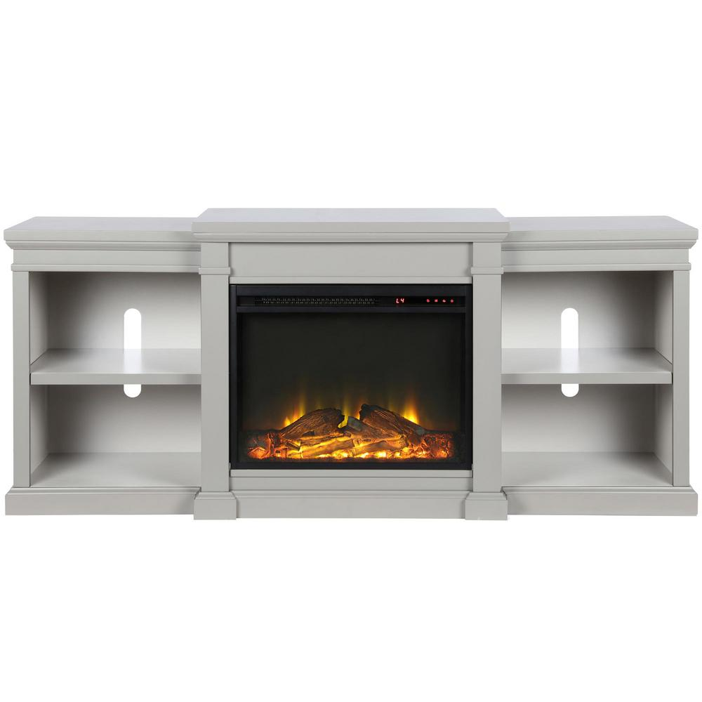 Paynes Gray Electric Fireplace 70 in. TV Stand, Gray Finish