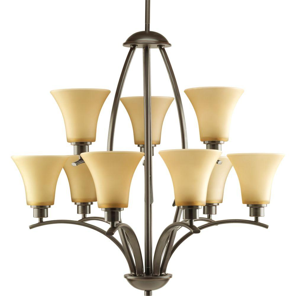 Joy Collection 9-Light Antique Bronze Chandelier with Shade with Etched Hammered