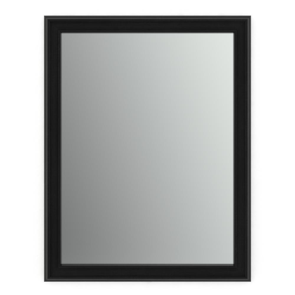 28 in. W x 36 in. H (M1) Framed Rectangular Standard Glass Bathroom Vanity Mirror in Matte Black
