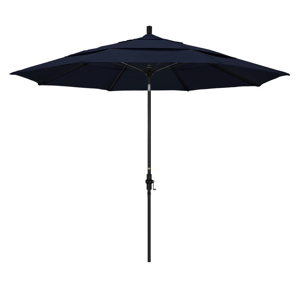 11 ft. Matted Black Fiberglass Market Patio Umbrella Collar Tilt DV in Navy Blue Pacifica