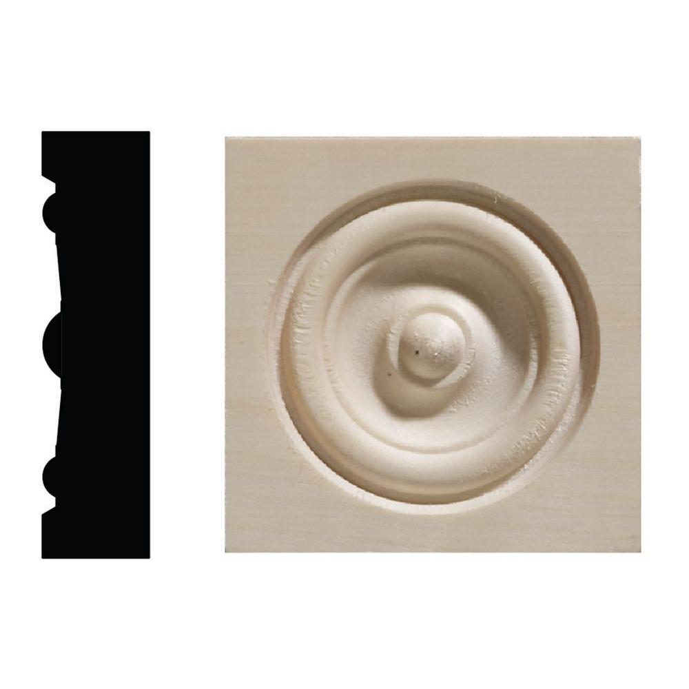 Ornamental Mouldings 642C 5/8 in. x 2-1/2 in. x 2-1/2 in. White Hardwood Corner Block Moulding