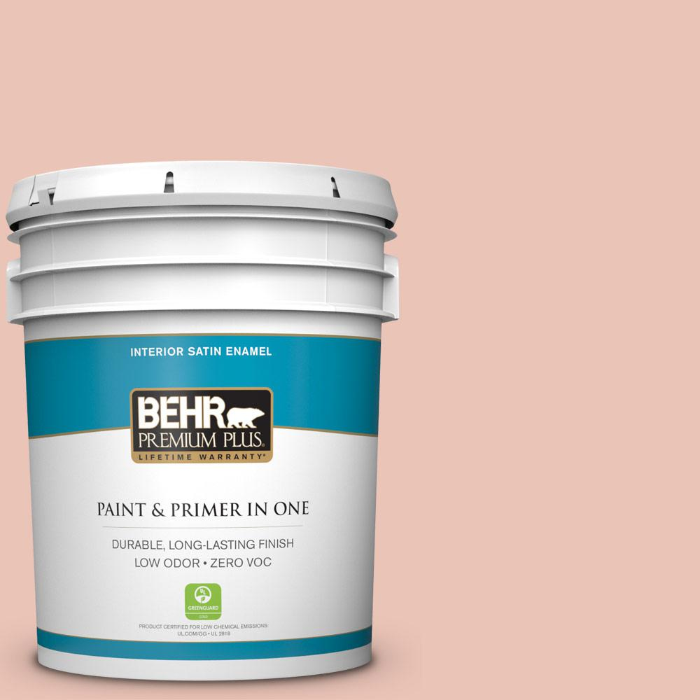 BEHR Premium Plus Home Decorators Collection 5-gal. #HDC-CT-14 Coral Coast Zero VOC Satin Enamel Interior Paint
