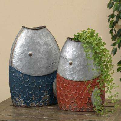 Nautical Galvanized Metal Fish Containers (Set of 2)