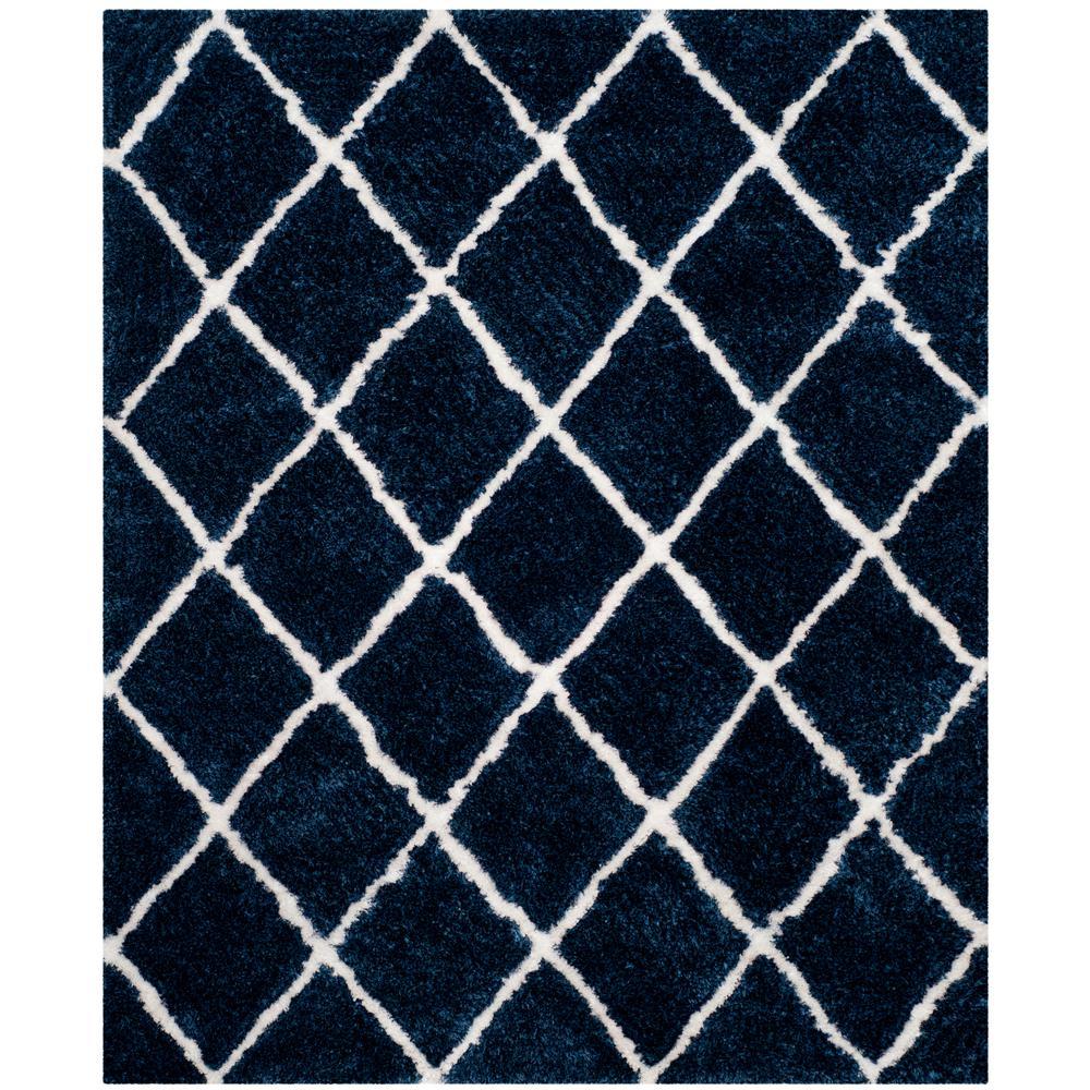 safavieh toronto shag navy white 8 ft x 10 ft area rug sgt712h 8 the home depot. Black Bedroom Furniture Sets. Home Design Ideas