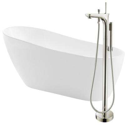 Trend 67 in. Acrylic Flatbottom Non-Whirlpool Bathtub in White with Kase Faucet in Brushed Nickel