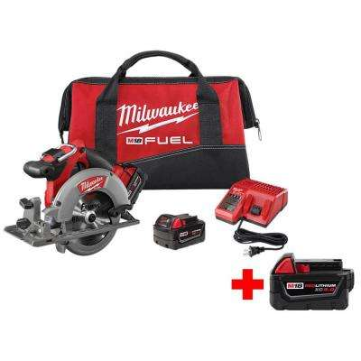 M18 FUEL 18-Volt Lithium-Ion Brushless Cordless 6-1/2 in. Circular Saw Kit w/ Free M18 5.0Ah Battery