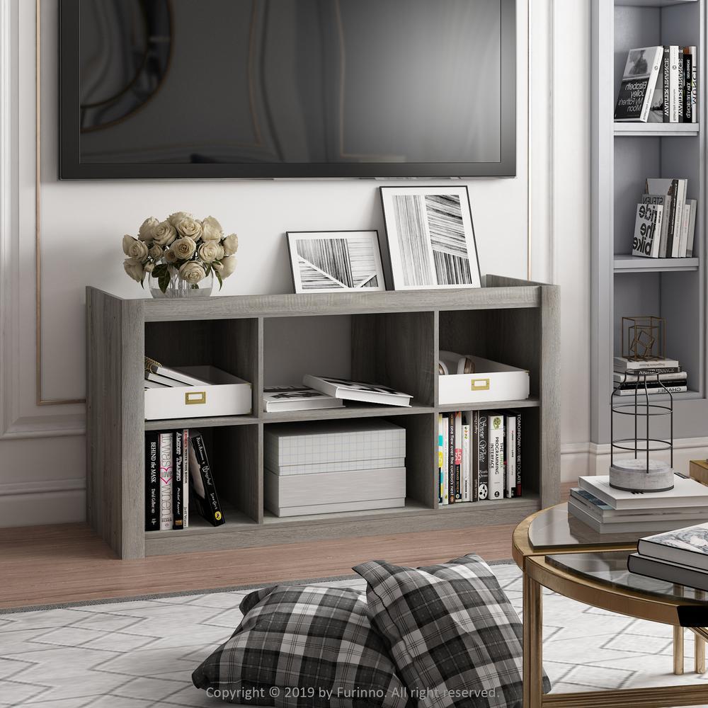 Fowler French Oak Grey Multipurpose Bookshelves TV Stand