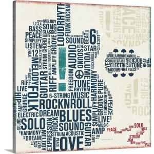 """""""Type Guitar Square II"""" by Michael Mullan Canvas Wall Art"""