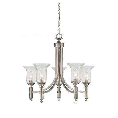 Rose 5-Light Satin Nickel Chandelier with Clear Seeded Glass Shade
