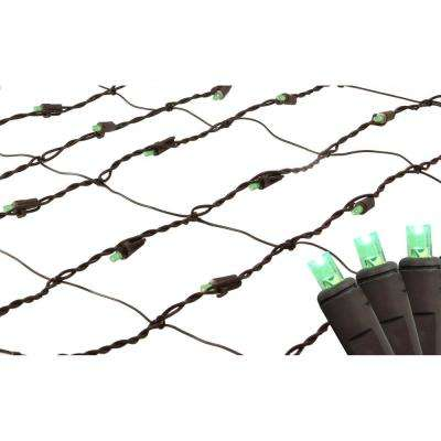 2 ft. x 8 ft. Green LED Net Style Tree Trunk Wrap Christmas Lights with Brown Wire