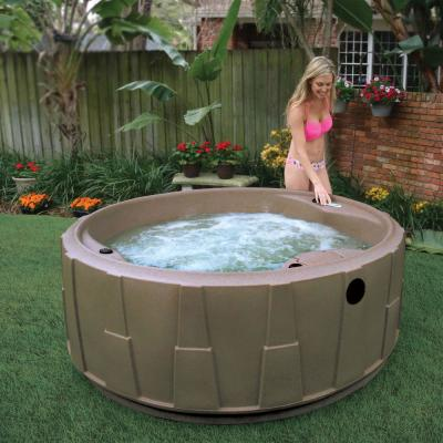 Premium 200 5-Person Plug and Play Hot Tub with 20 Stainless Jets, Heater, Ozone and LED Waterfall in Brownstone