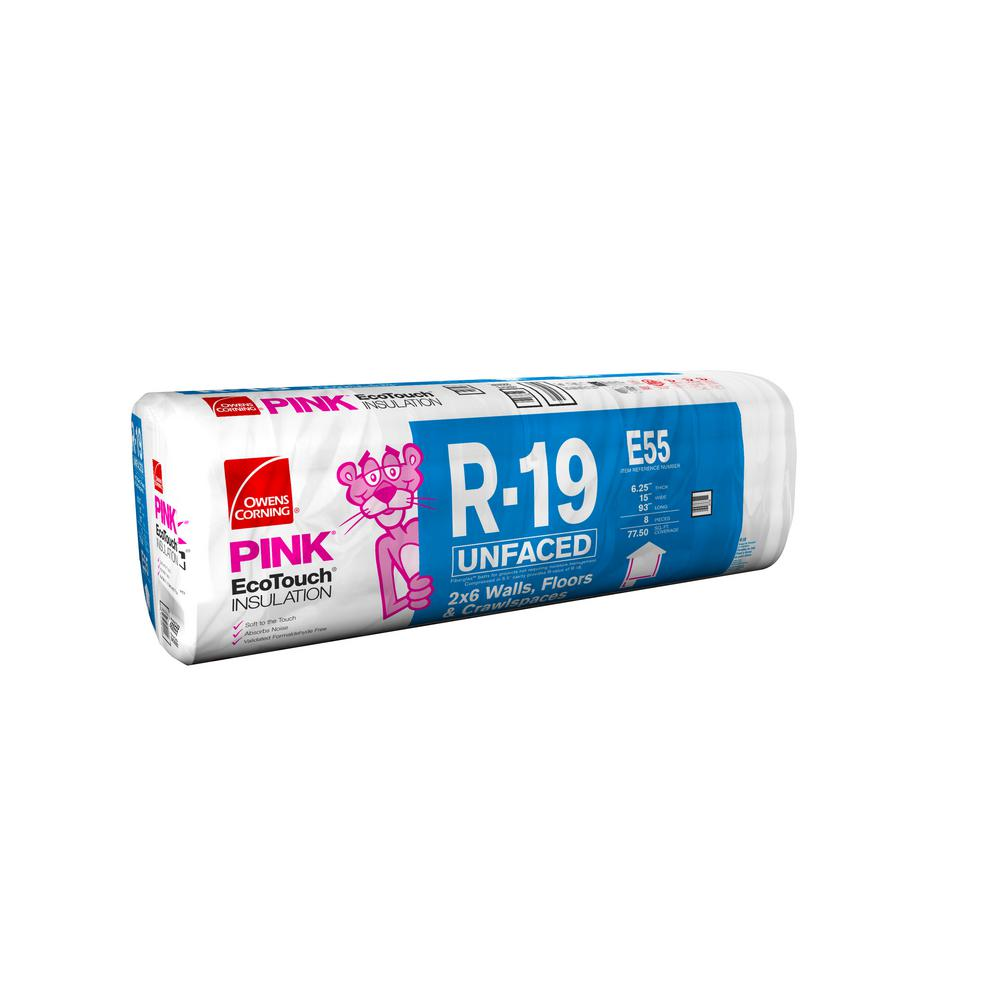 Owens Corning R-19 Unfaced Insulation Batts 15 in. x 93 in.