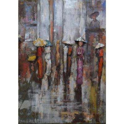 "40 in. x 28 in. ""Paris Rain"" Mixed Media Iron Hand Painted Dimensional Wall Art"