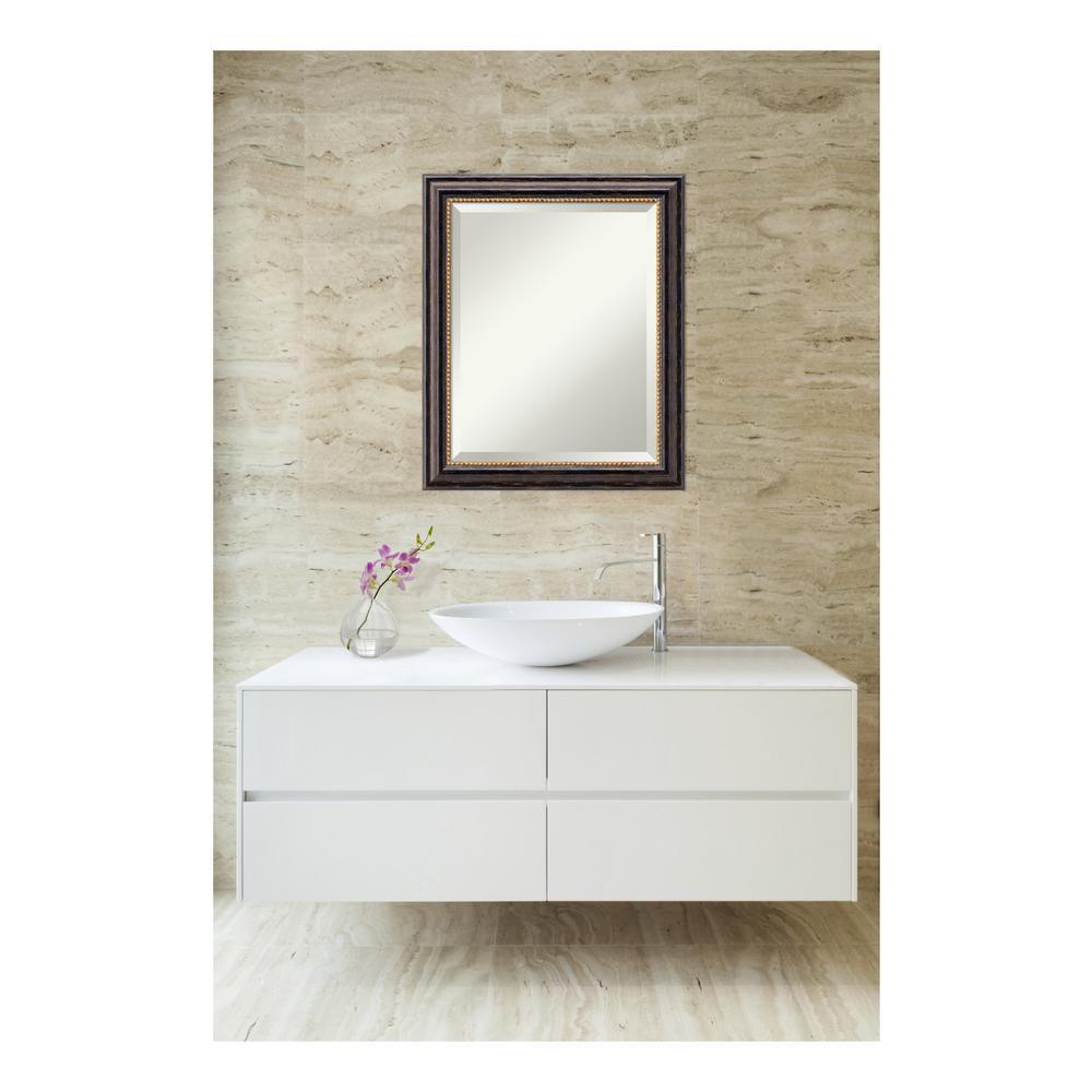 Tuscan Rustic Distressed Black Wood 20 in. W x 24 in. H Single Bathroom Vanity Mirror