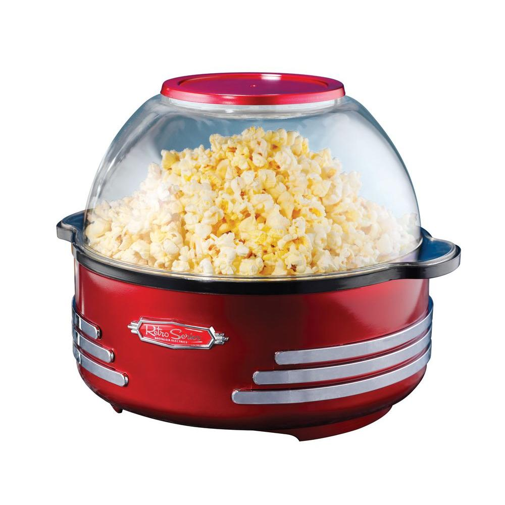 Retro Stirring Popcorn Maker, Red The Nostalgia SP300RETRORED Retro Series 6-Quart Stirring Popcorn Popper is a popcorn maker and bowl in one! This unique design with built-in stirring rod moves the popcorn through the oil preventing the popcorn from burning, while the clear dome doubles as a serving bowl. Simply add oil, salt, and popcorn kernels and in about five minutes you will have a perfect batch of delicious popcorn. Also, works great with Nostalgia Pre-Measured Pouches! Color: Red.