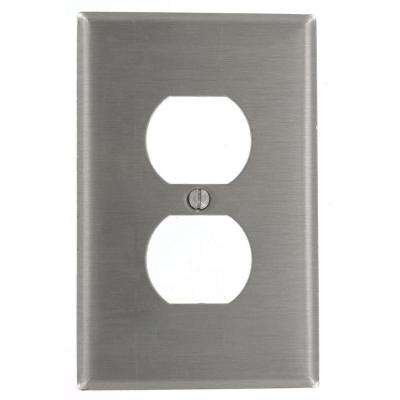 1-Gang 1 Duplex Receptacle, Midway Size Wall Plate, Stainless Steel