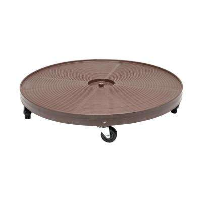24 in. Espresso Round HDPE Plant Dolly/Caddy