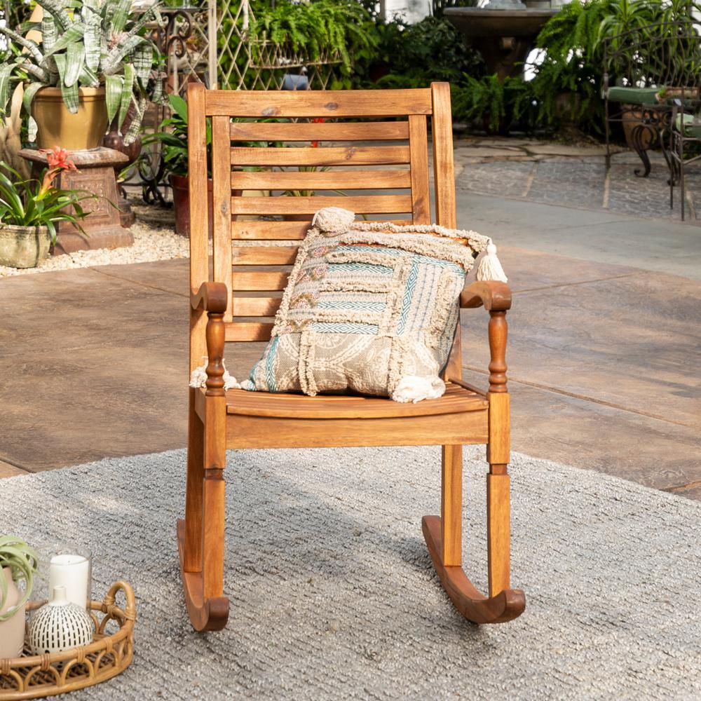 Walker Edison Furniture Company Boardwalk Brown Acacia Wood Outdoor Rocking Chair