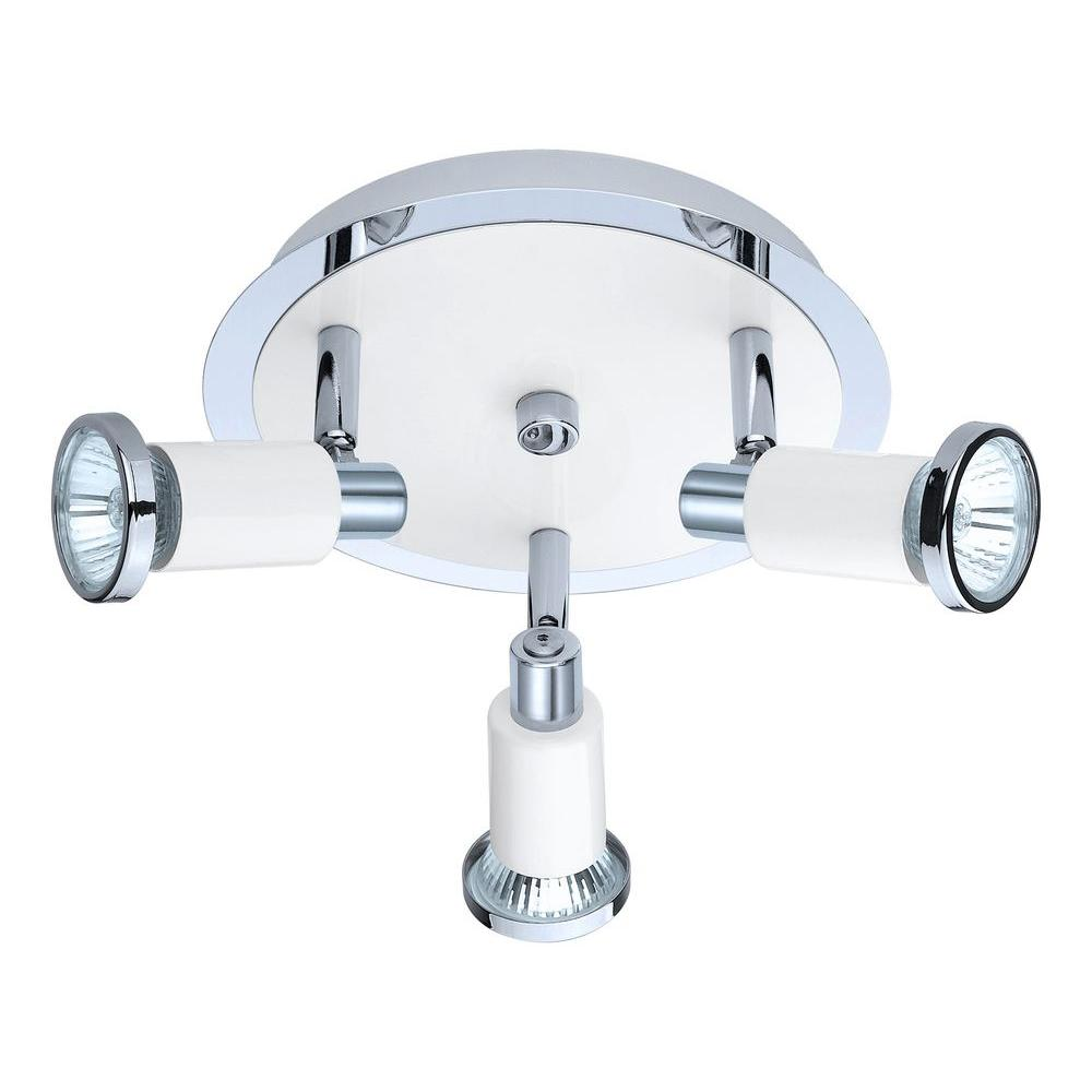 Eridan 3-Light Chrome Ceiling Flushmount with Glossy White Shade