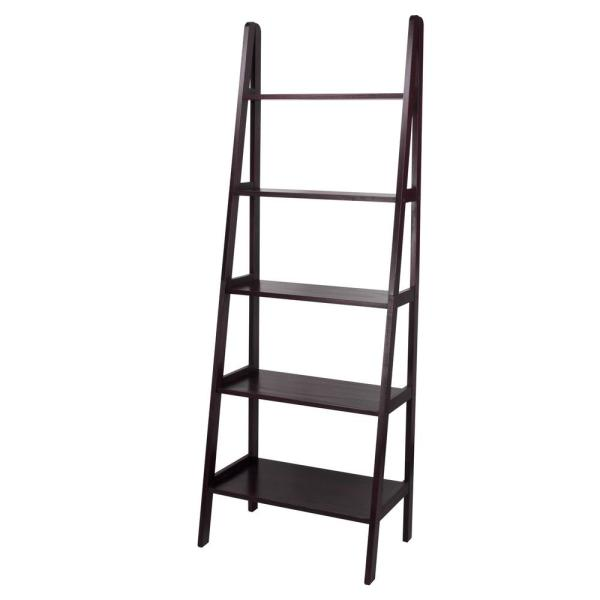 Casual Home Espresso 5-Shelf Ladder Bookcase 176-53