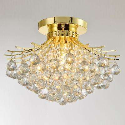 Empire 19 in. 3-Light Polished Gold Crystal Semi-Flush Mount