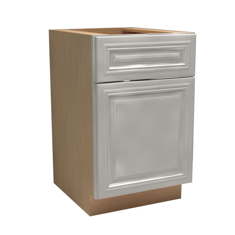 Home Decorators Collection Coventry Assembled 18x34.5x24 in. Single Door, Drawer & Rollout Tray Hinge Right Base Kitchen Cabinet in Pacific White