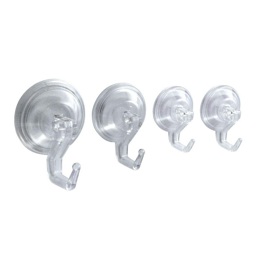 interDesign Power-Lock Suction 4-Hook Combo Pack in Clear