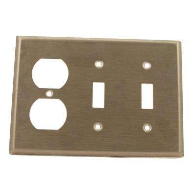 3-Gang Standard Size 2-Toggles 1-Duplex Receptacle Combination Wall Plate, Stainless Steel