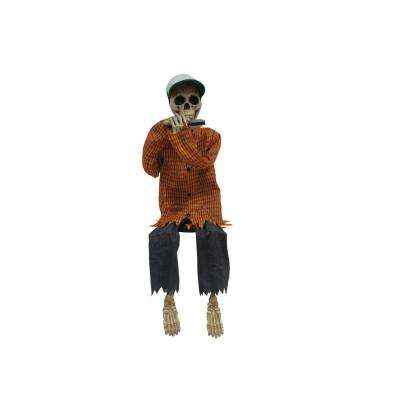 38 in. Animated Harmonica Playing Skeleton