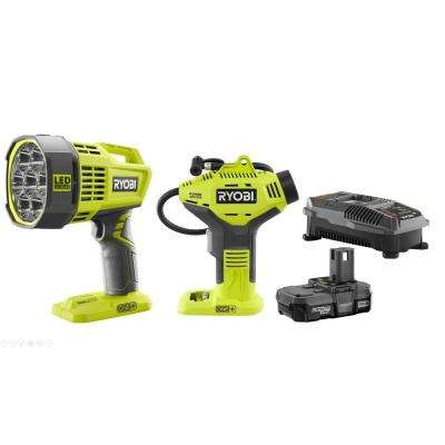 18-Volt ONE+ Lithium-Ion Cordless Power Inflator Kit with 1.3 Ah Battery, Charger and ONE+ Cordless Hybrid LED Spotlight