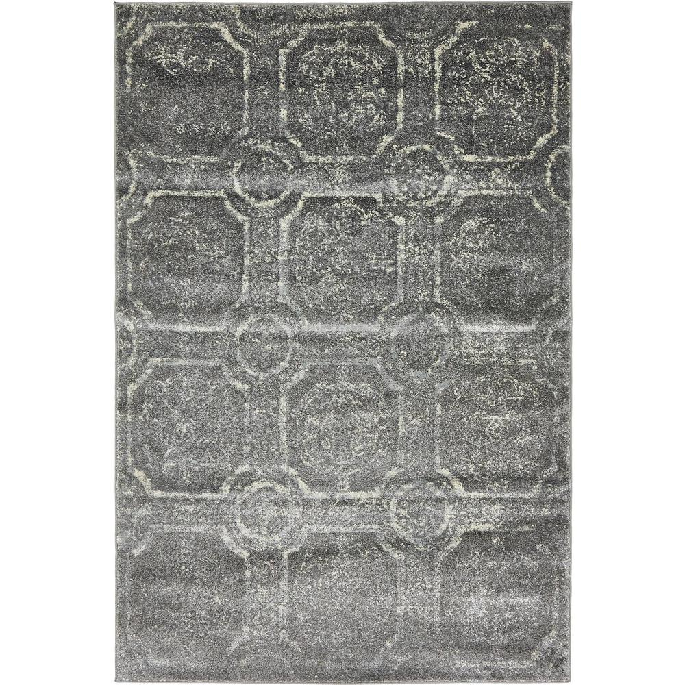 Unique Loom Stockholm Dark Gray 4 Ft. X 6 Ft. Area Rug